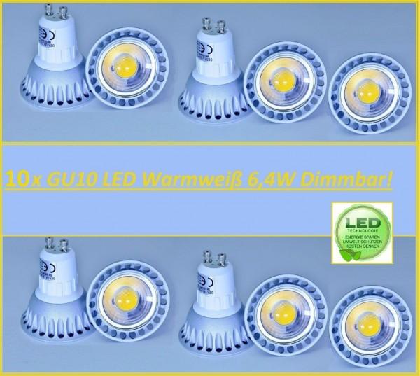 10x GU10 Led 6,4W Warmweiß Leuchtmittel Lampe Strahler Spot Birne Dimmbar