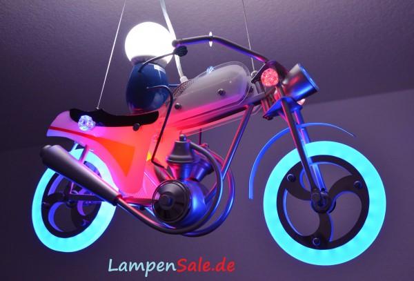 Motorrad LED Pendelleuchte Fernbedienung Kinder Lampe Bike Farbwechsler RGB