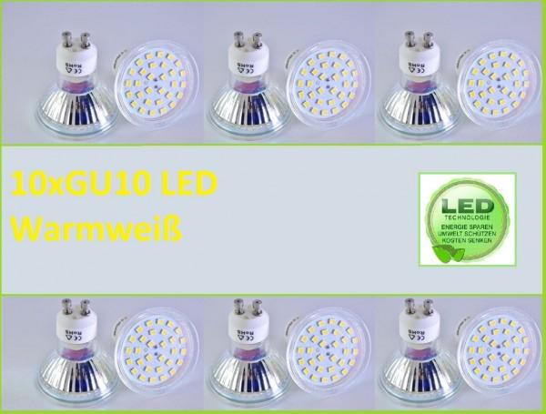 10x GU10 Led SMD 5W Warmweiß Leuchtmittel Lampe Strahler Spot Birne Fassung