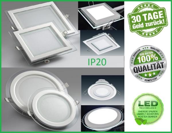 LED Glas Panel Flach Einbaustrahler Einbau Deckenleuchte Beleuchtung Rund Eckig