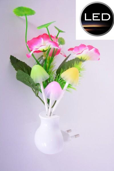LED SteckdosenLampe Nachtlicht Blumen Steckdose Pflanzen Pilze beleuchtung Natur