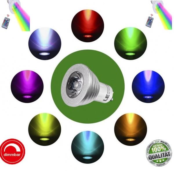 LED GU10 3W RGB mit Fernbedienung 16 Farben Leuchtmittel Farbwechsel