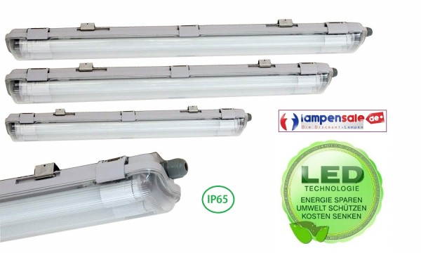 Wannenleuchte Feuchtraumleuchte IP65 LED 1 2 flg. Lampe Tube Röhre 60 120 150cm