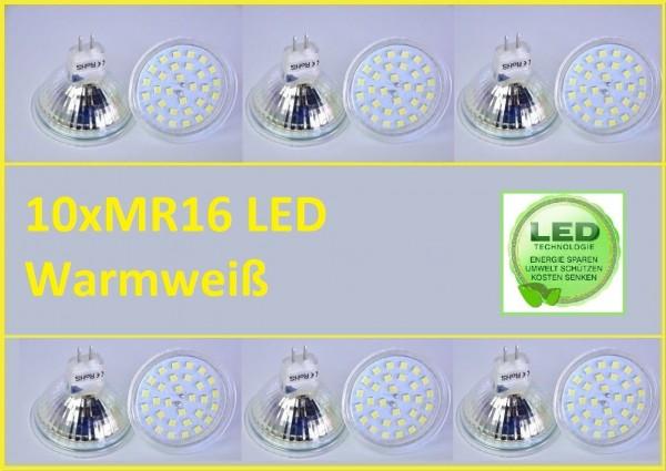 10x MR16 Led SMD 5W Warmweiß Leuchtmittel Lampe Strahler Licht SpotBirne Fassung
