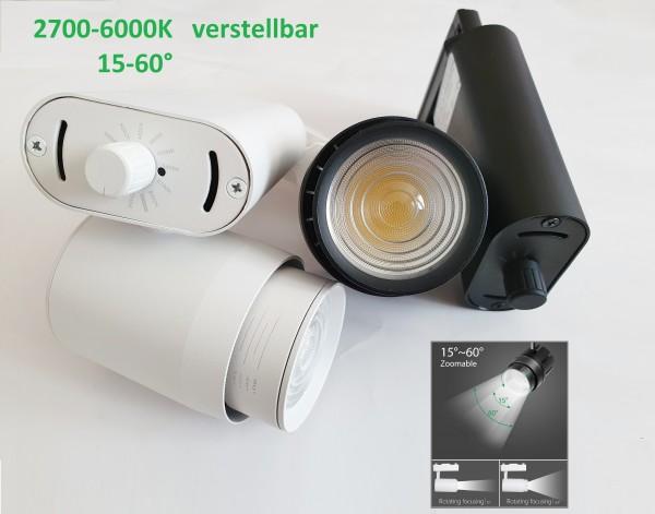 LED Track Spot Strahler 15-60° VERSTELLBAR ZOOM 2700-6000K Schwenkbar Lampe 35W