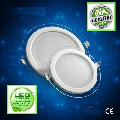 LED Glas UltraSlim Panel Einbaustrahler DeckenLeuchte rund Einbau 18W Warmweiß