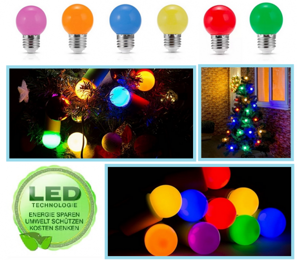 LED Glühbirne E27 Farben Color farbig Lichterkette Leuchtmittel Garten IP44 220V