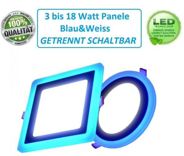 LED Panel Blau Kaltweiß Flach Einbaustrahler Deckenleuchte Rund Eckig IP20 Blue