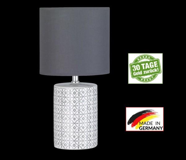 Honsel 98220 Oriental rund Tischleuchte Büro Leuchte Lampe weiß grau Keramik E14