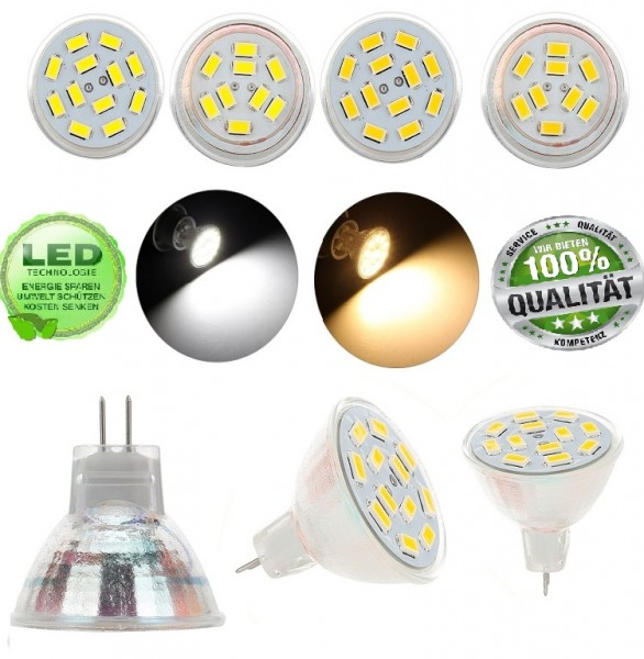 MR11 Mini LED SMD Spot Strahler Leuchtmittel 2,5W Stecklampe AC/DC 12V Birne