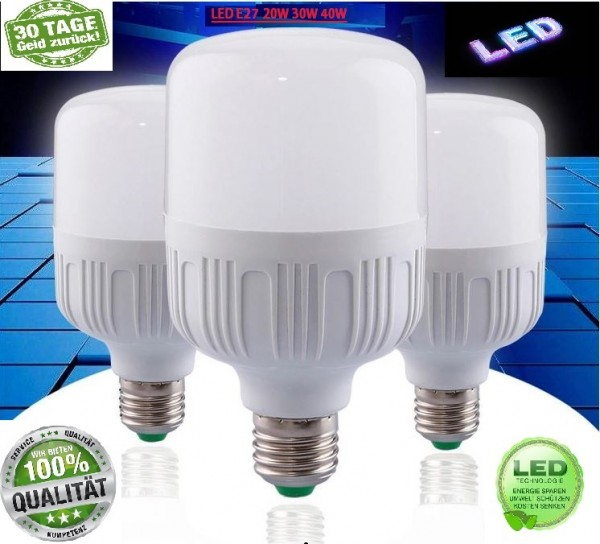 E27 LED Leuchtmittel Glühbirne Lampe Kaltweiß Warmweiß 20W 30W 40W Birne leuchte
