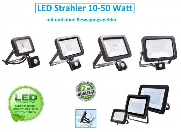 LED Fluter Strahler Außenstrahler Scheinwerfer 10W - 50W bewegungsmelder IP66