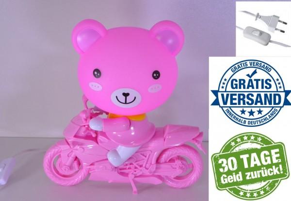 Kinder LED Nachttischleuchte Teddy auf Motorrad Tischleuchte Tischlampe