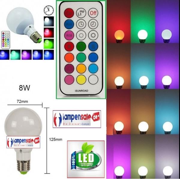 LED E27 RGB 8W Farbwechsel Licht Glühbirne Leuchtmittel mit Fernbedienung Birne