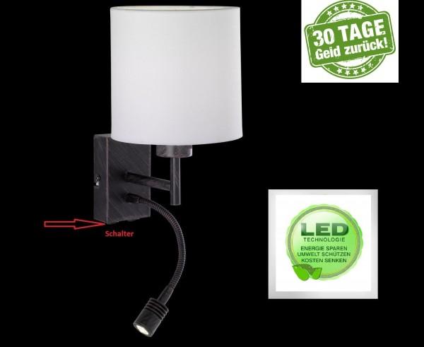 Honsel 36251 Mainz LED Wandleuchte Wand lampe Flurlampe Lese Leuchte Schalter