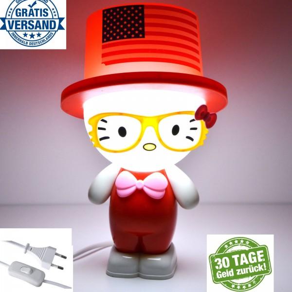 Tischlampe Kinder Tischlampe Nachttisch Lampe Tischleuchte Tiere Leselampe Rot